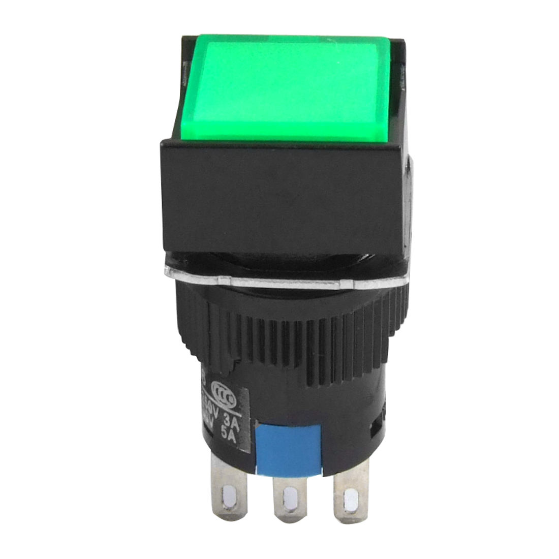 AC 3A/250V DC 5A/30V Green Square Self Locking Pushbutton Switch