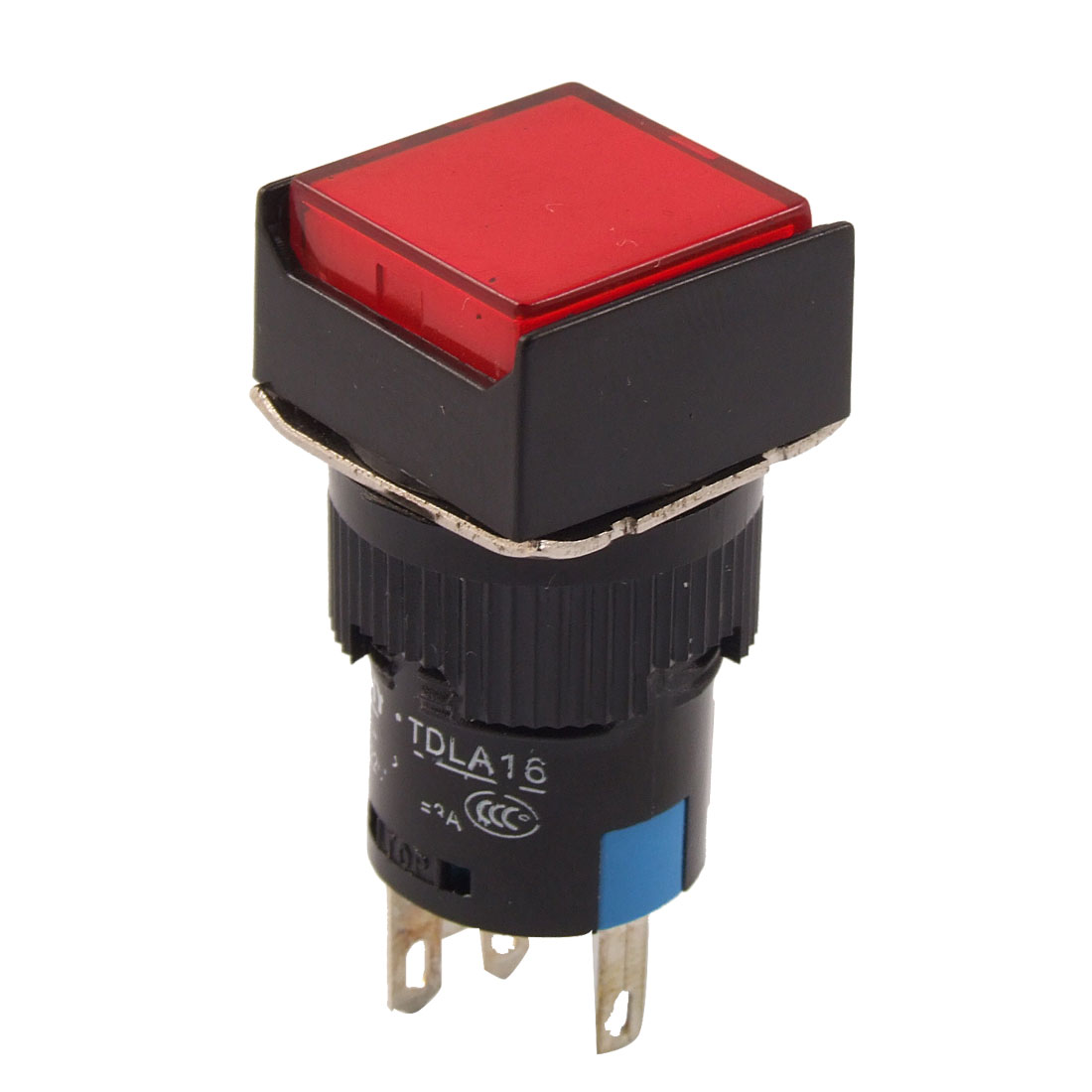DC 24V Red Neon Light Square Momentary AC 220V 3A Pushbutton Switch