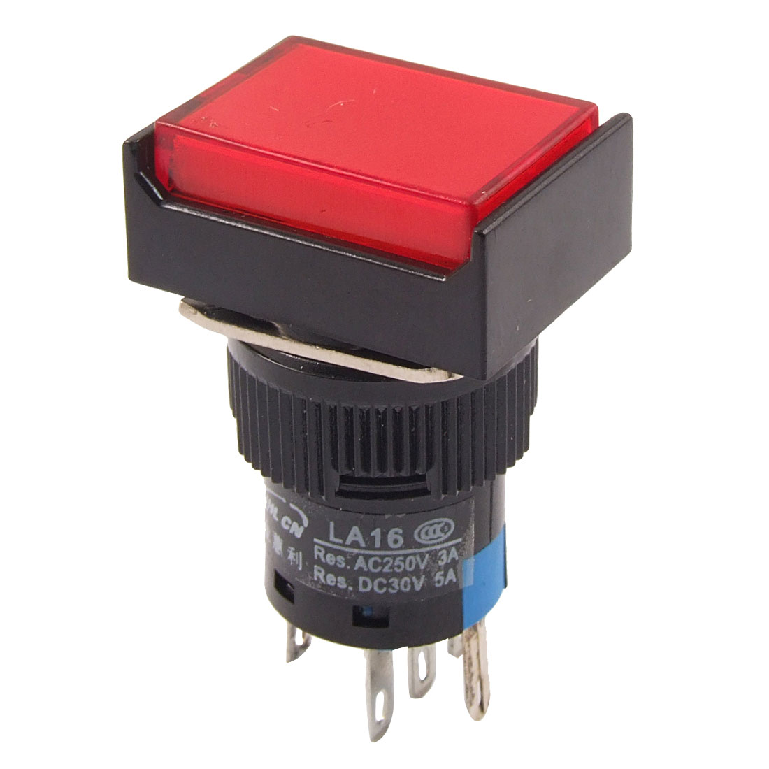 DC 24V Red Neon Light Rectangle 1NO 1NC Momentary Push Button Switch