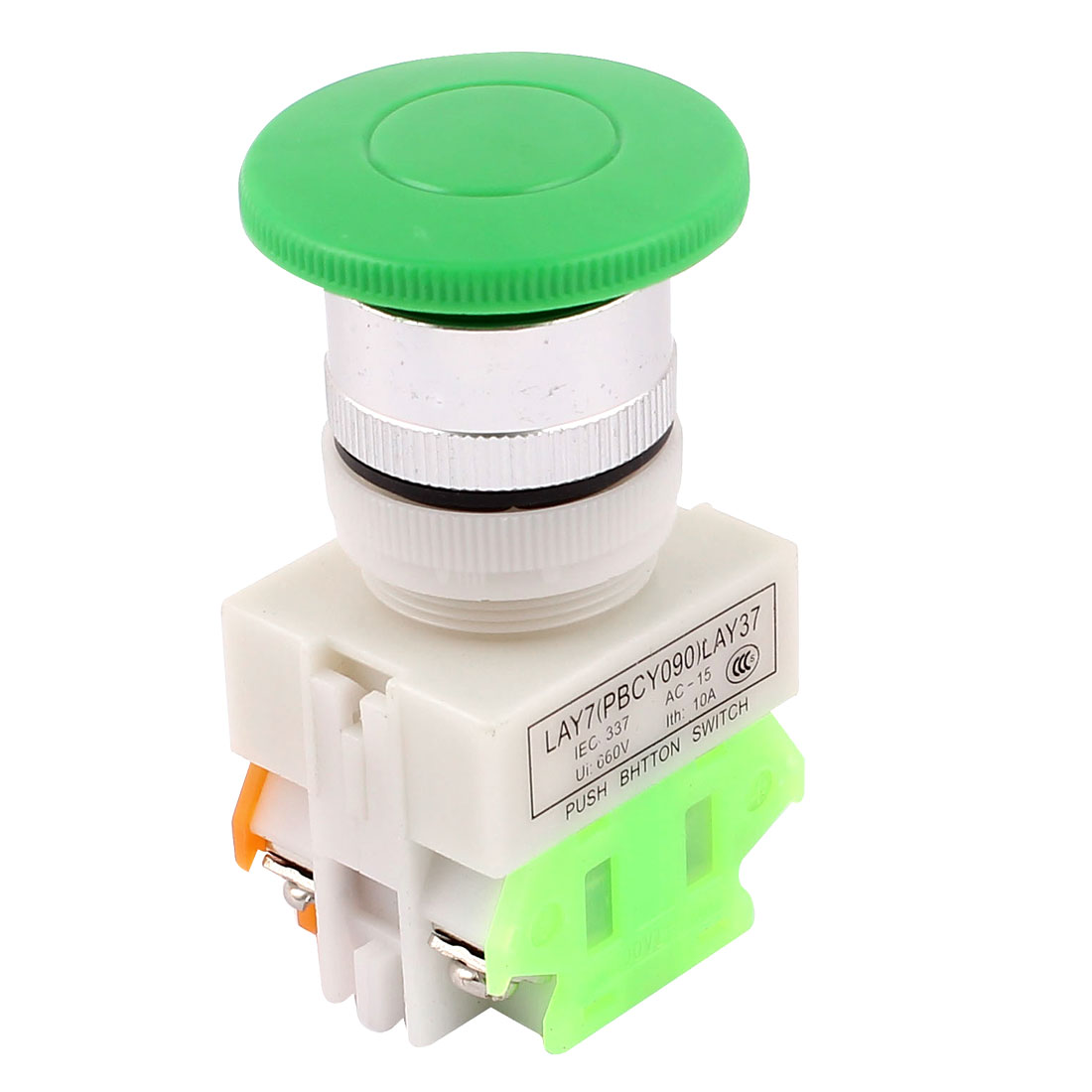 Ui 660V Ith 10A 4 Terminals Emergency Stop Green Mushroom Push Button Switch