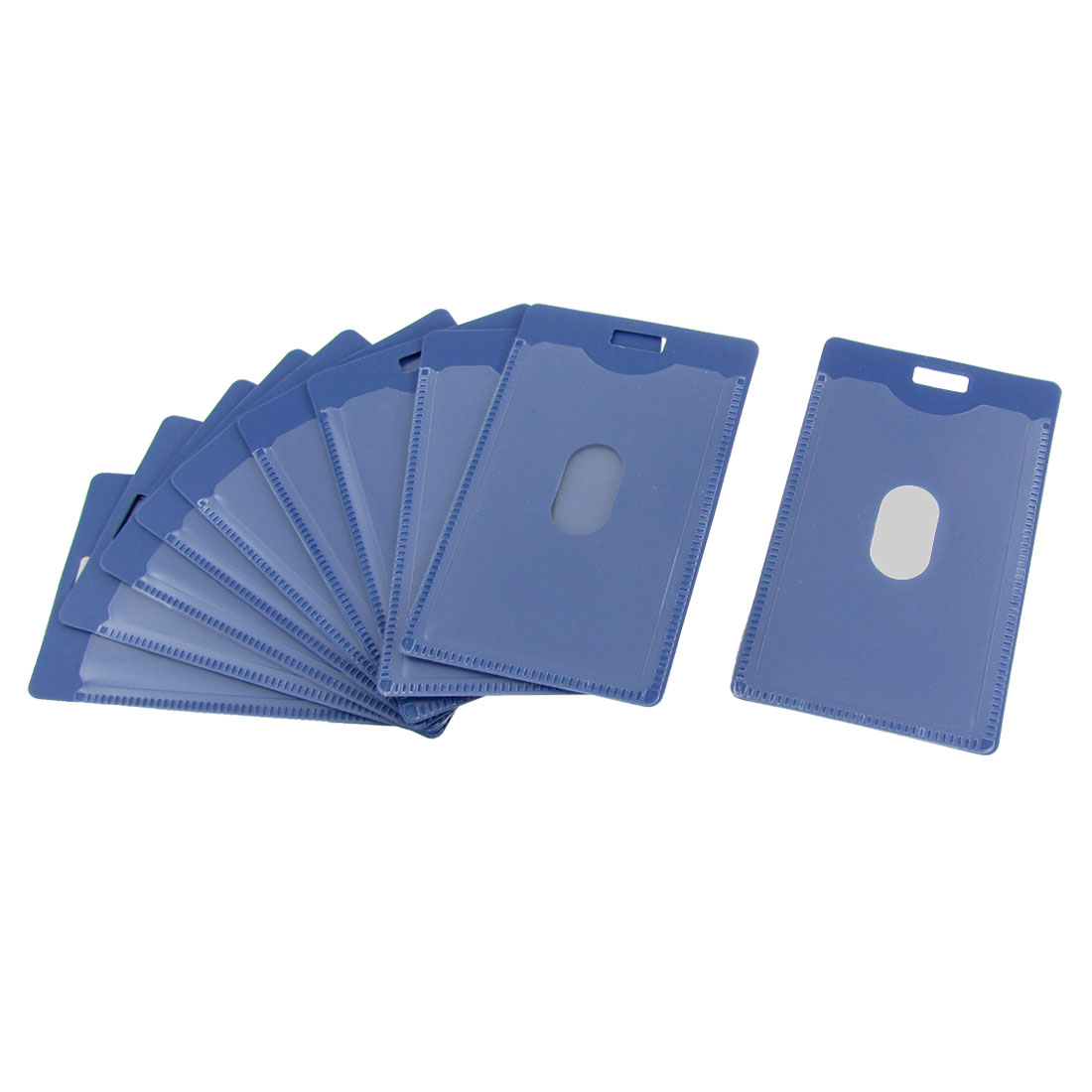 Blue Hard Plastic Vertical Staff Name Badge ID Holder 10 Pcs