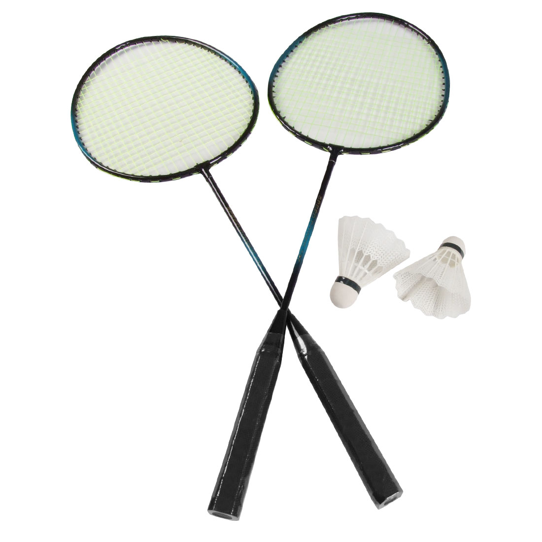 Pair Metal Shaft Head Badminton Rackets Paddles w Shuttlecocks