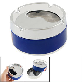 Silver Tone Royal Blue Cylinder Cigaretter Holder Smoking Ashtray