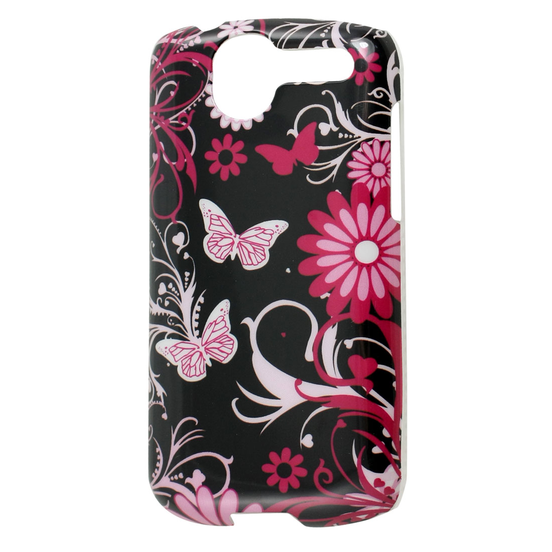 Textured Clear Brim Butterfly Flower Printed IMD Black Plastic Cover for HTC G7