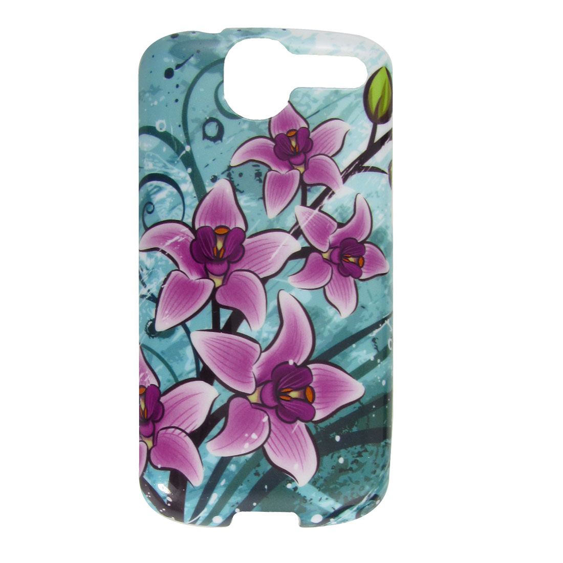 Purple Flower Print Cyan Hard Plastic IMD Back Case for HTC G7