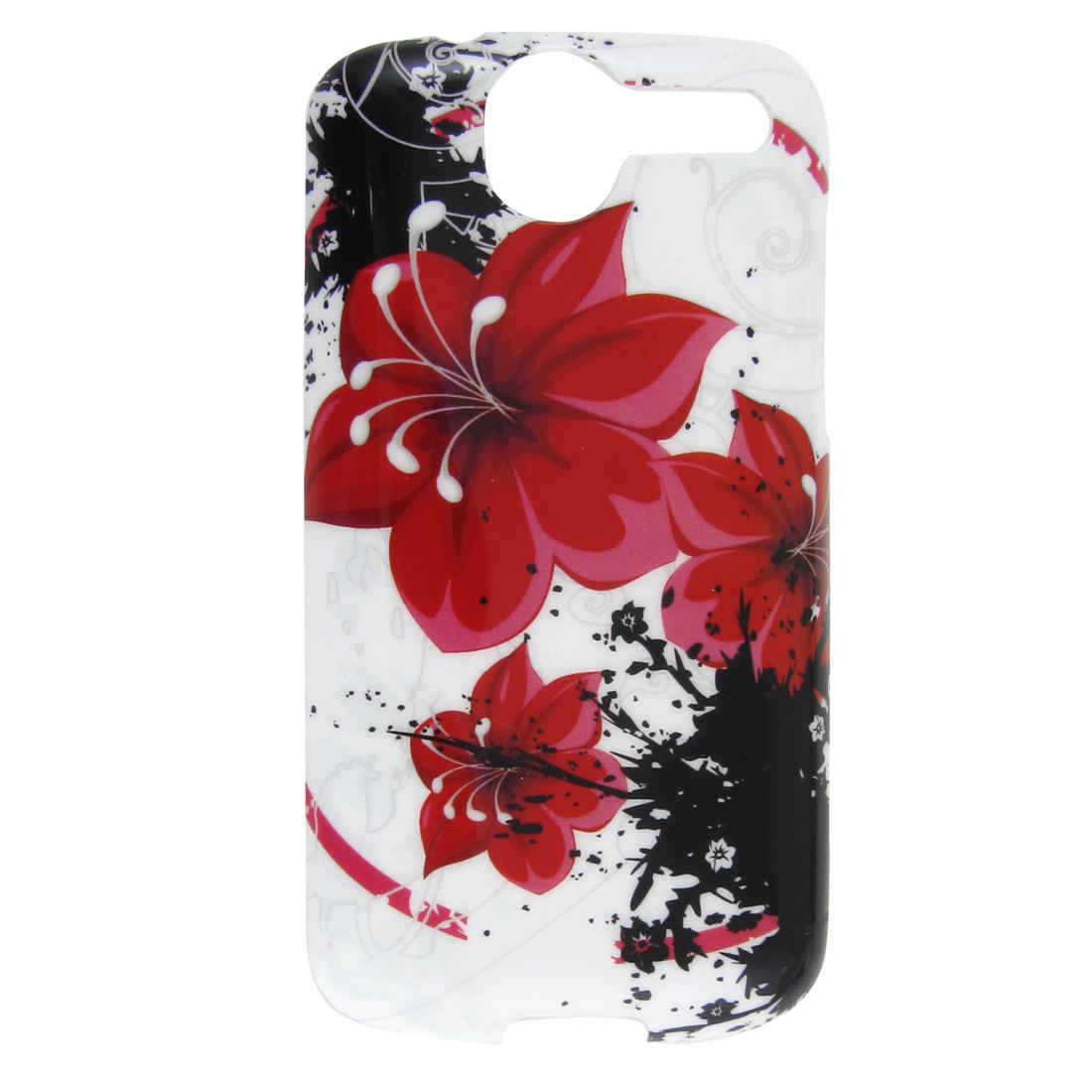 Red Flower Pattern Hard Plastic IMD Back Cover for HTC G7