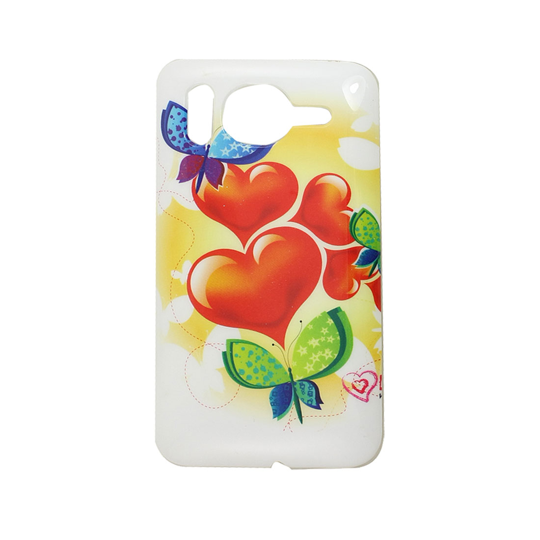 Red Heart Print White Hard Plastic Back Case Shell for HTC G10 Desire HD
