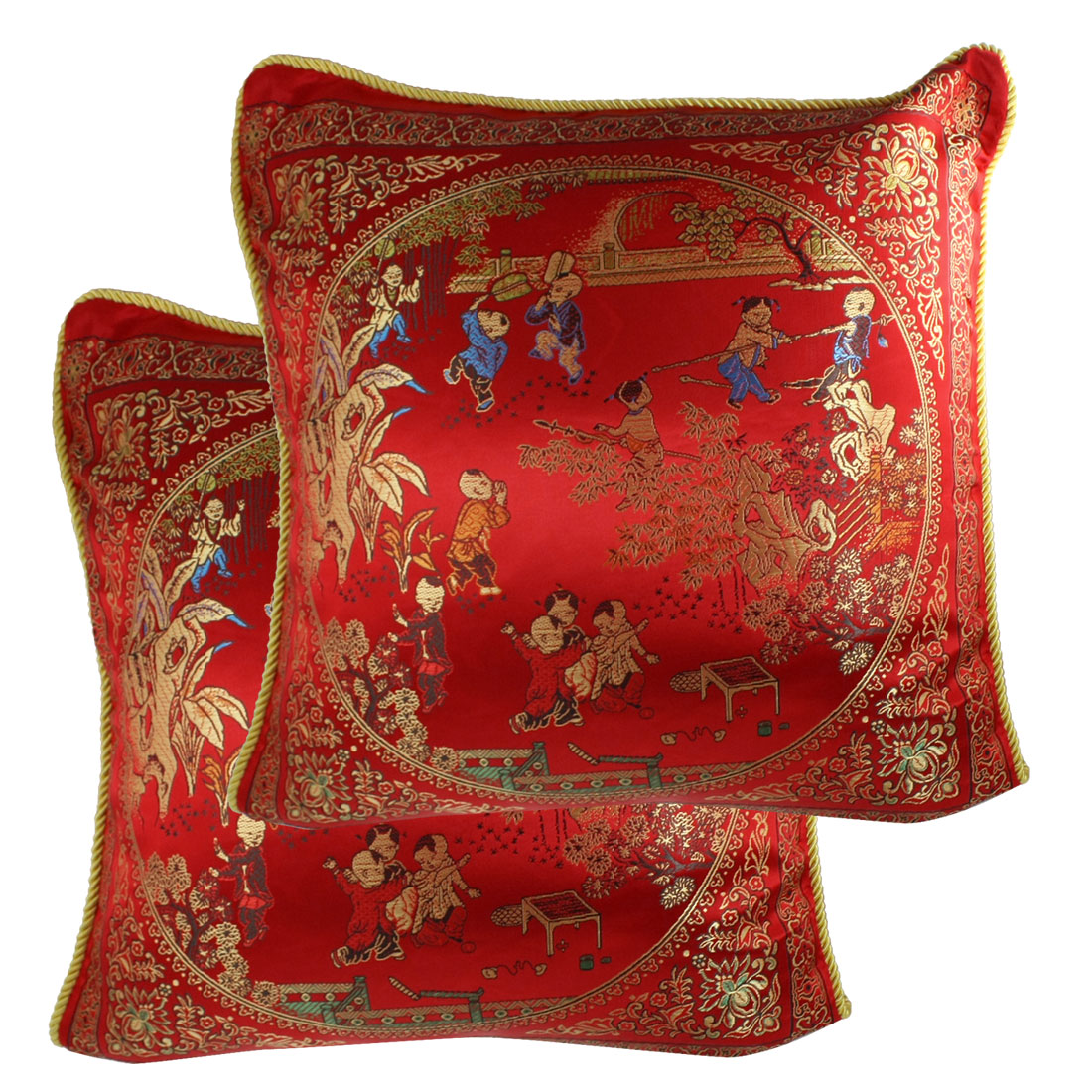 "Pair 43cm 17"" Manmade Silk Toss Throw Pillow Covers Red"