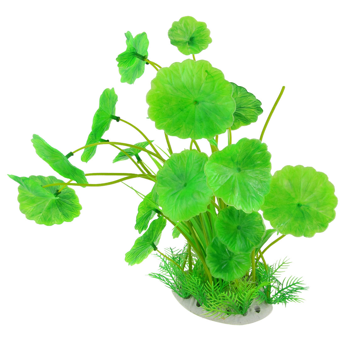 "Fish Tank Green Scalloped Leaves Aquascaping Plastic Plant Decor 11.2"""