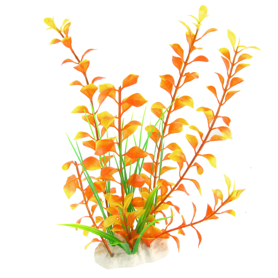 "Aquarium Tank Simulated 9.8"" Orange Yellow Plastic Plant w Ceramic Base"