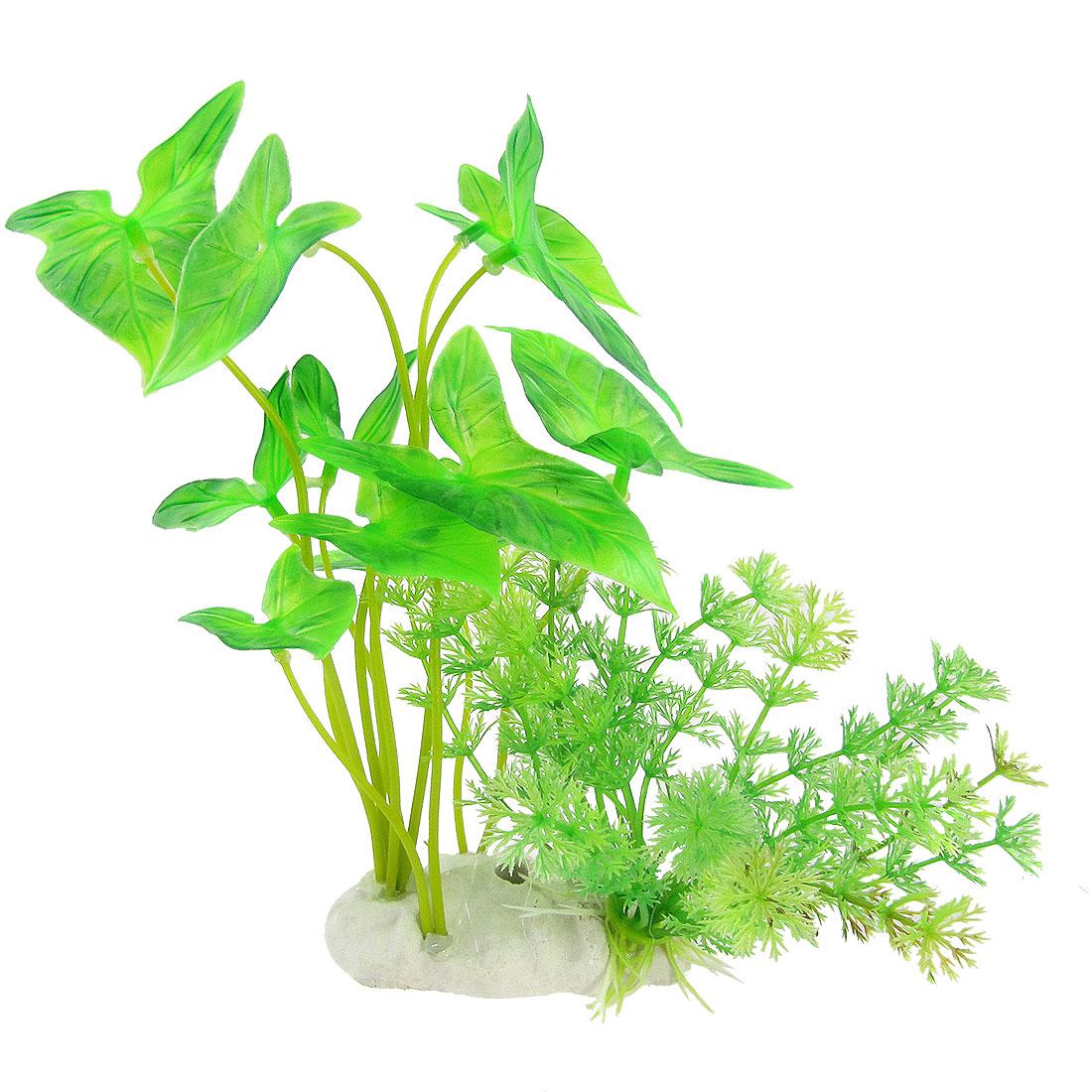 """Ceramic Base Green Leaves 7.8"""" Plastic Plant Decoration for Aquarium"""