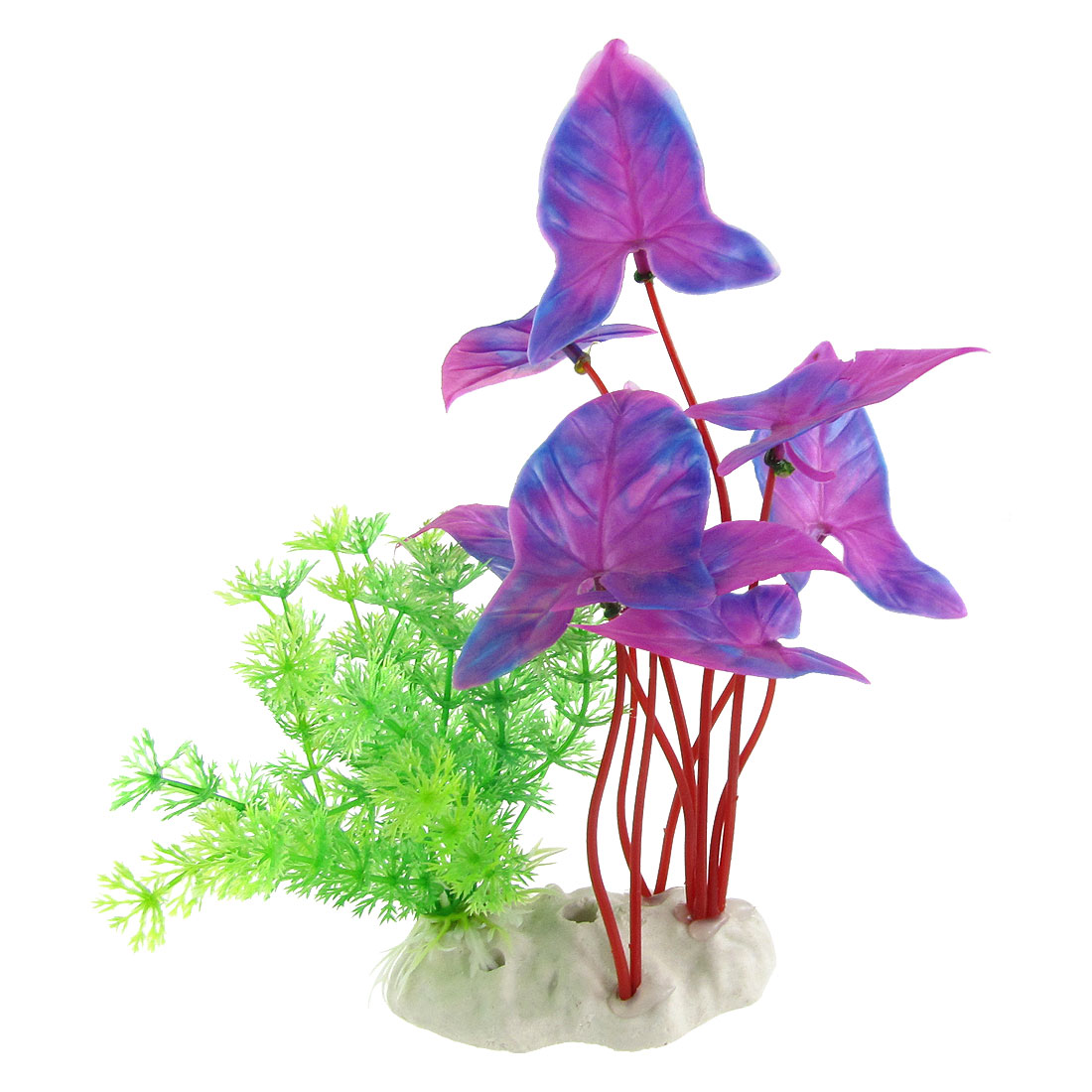 """Aquarium Tri Color 7.5"""" High Plastic Plant Decor Ornament w Ceramic Base"""