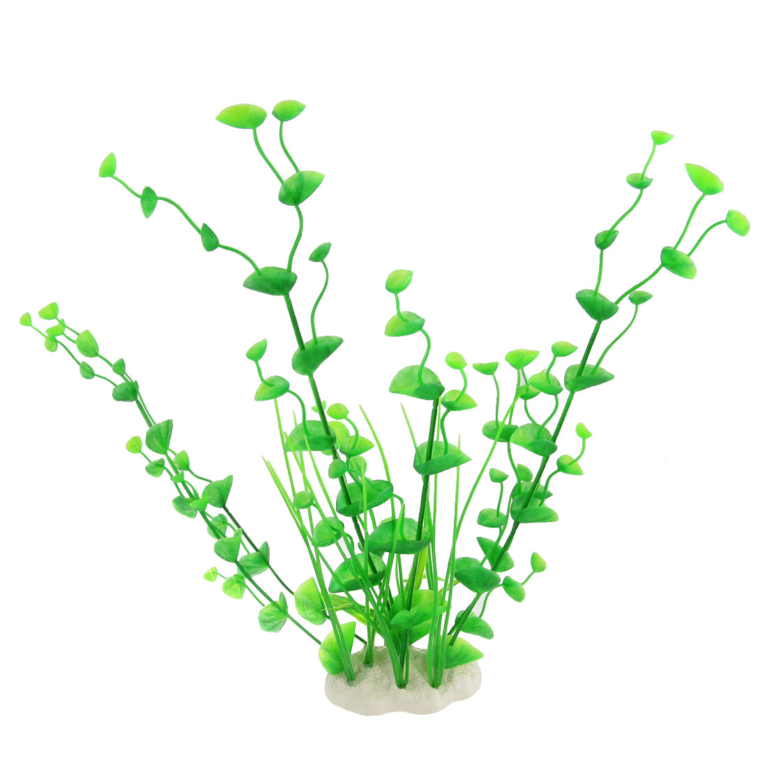 "Aquascaping Green 11.8"" Plastic Plant w Ceramic Base for Aquarium Tank"