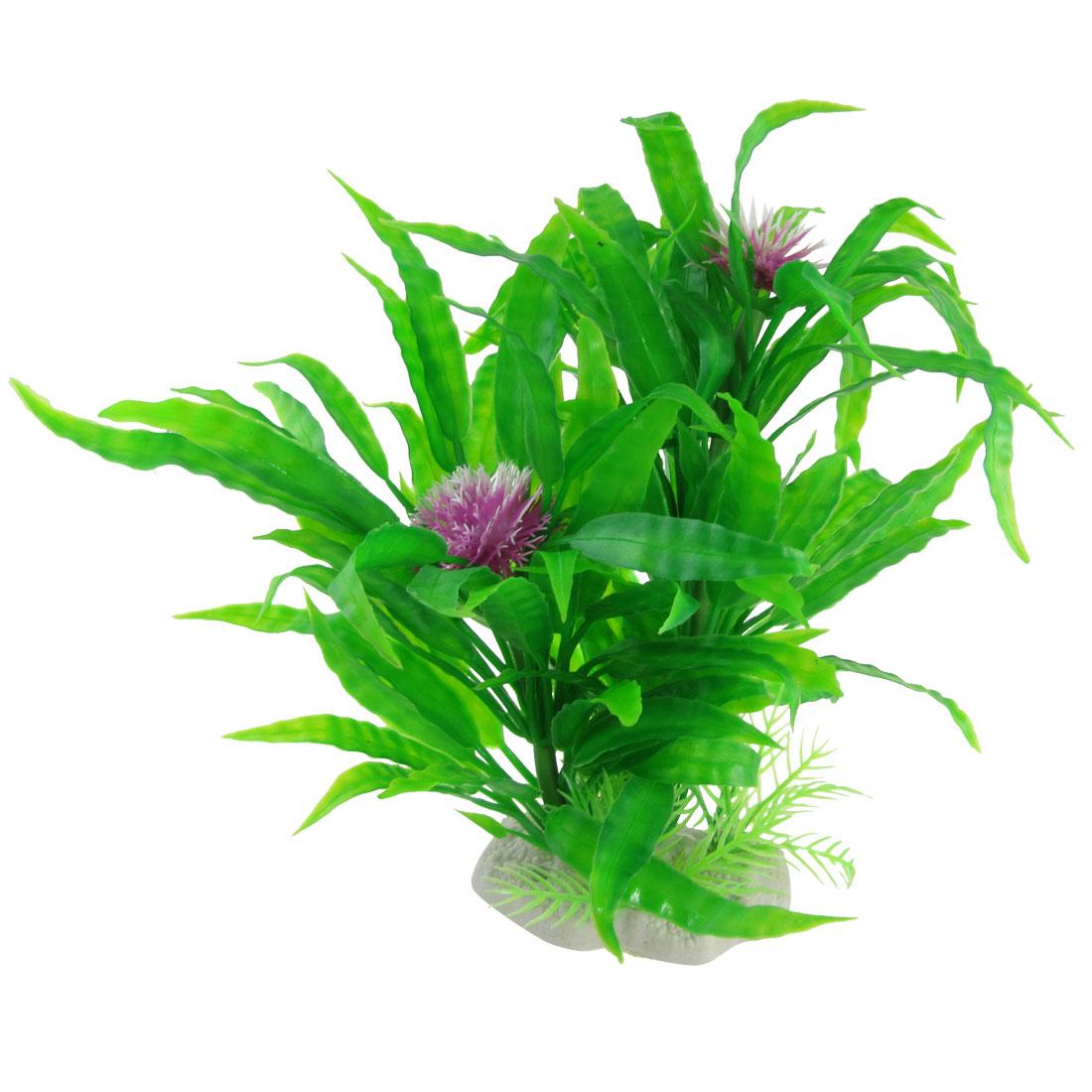 "8.2"" Aquarium Fish Tank Decor Purple Ball Flower Green Leaves Plant"
