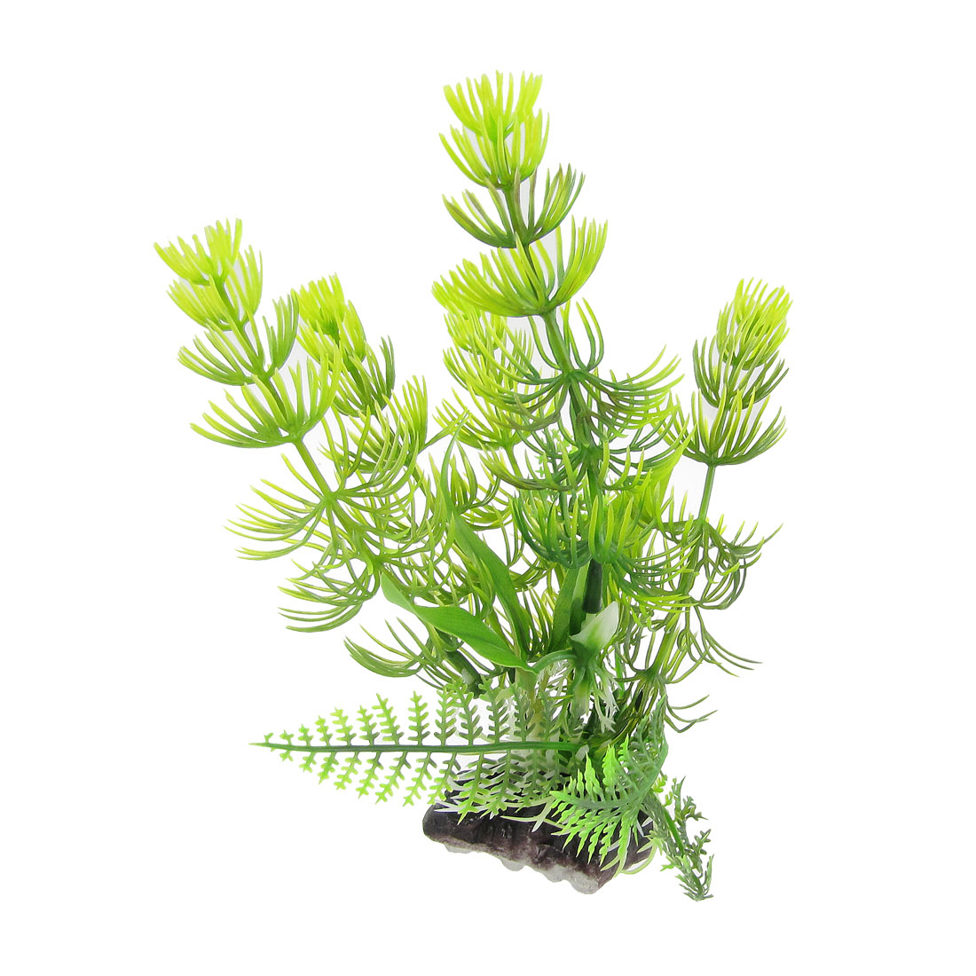 Fish Tank Perforated Base Yellow Green Leaves Aquascaping Plastic Plant 6.7""