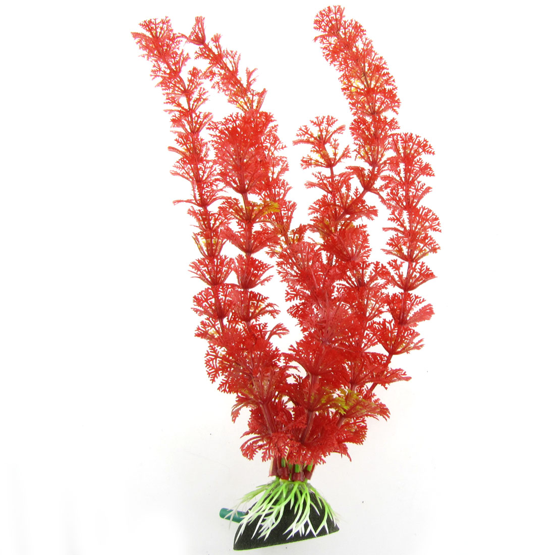 Air Stone Base Red Leaves Aquarium Fish Tank Plastic Plant Decoration 11.8""