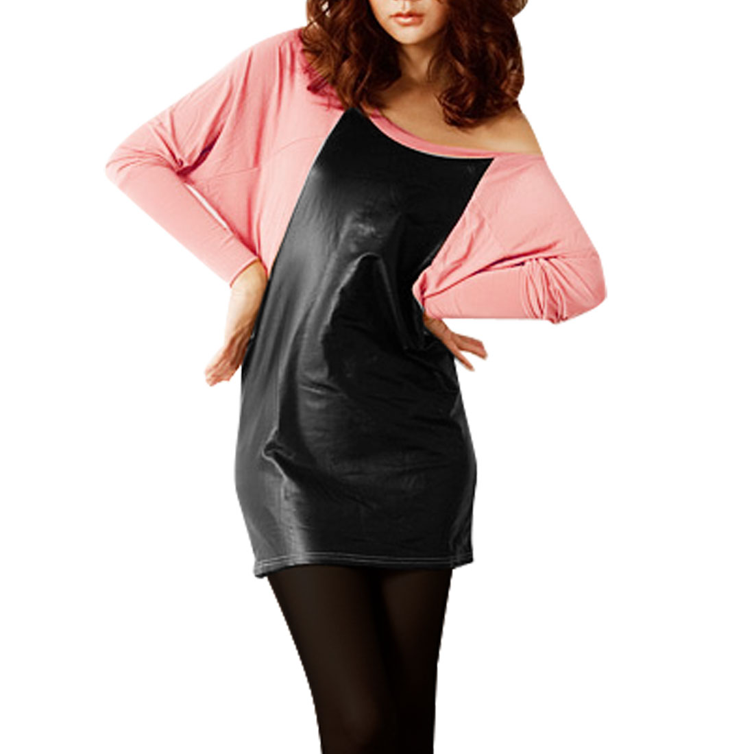 Woman Pink Black Faux Leather Splicing Batwing Sleeve Blouse M