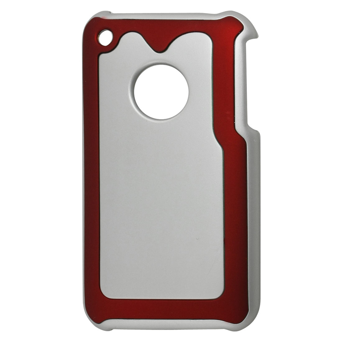 Silver Tone Maroon Hard Plastic Back Case for iPhone 3G 3GS
