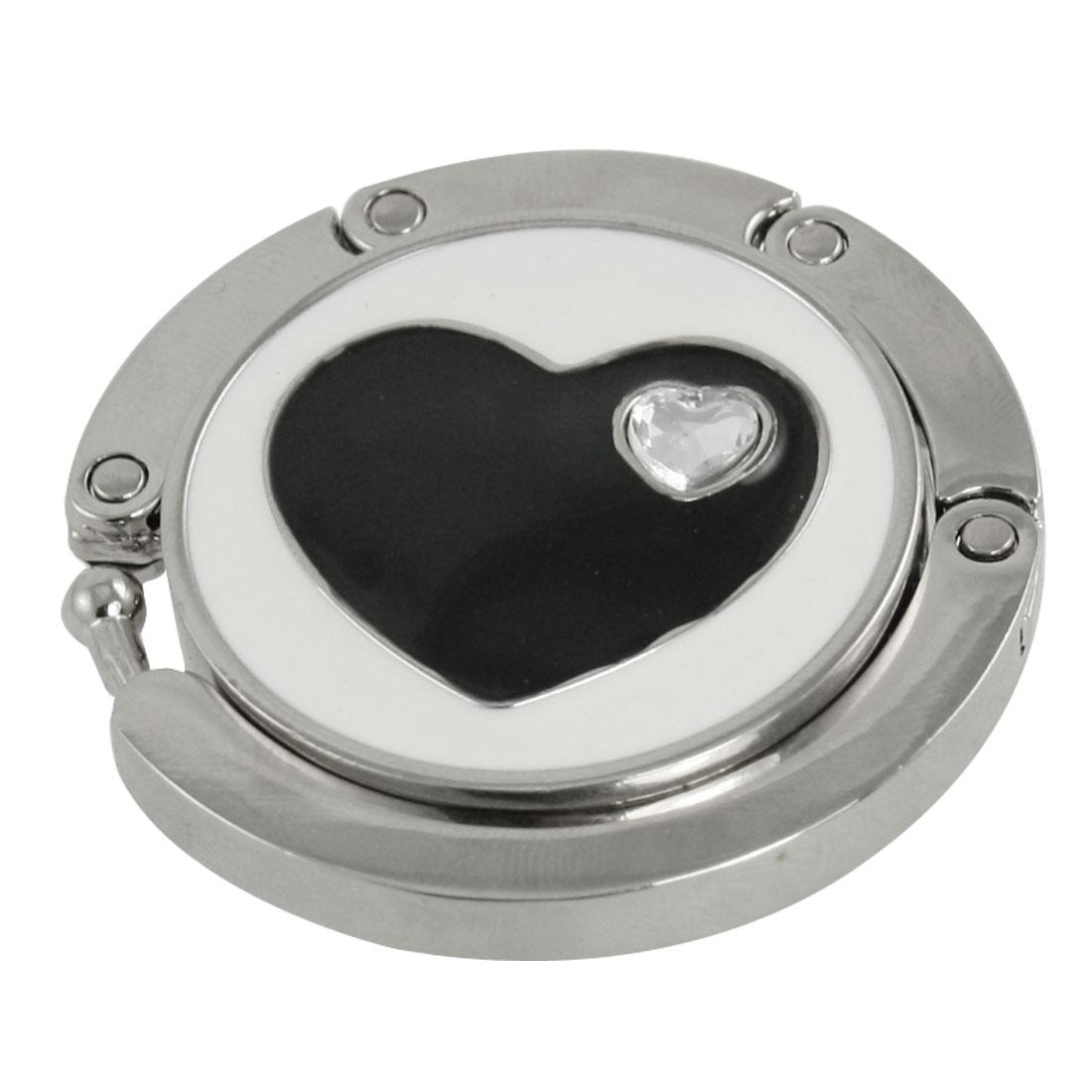 Rhinestone Accent Black Heart White Silver Tone Round Handbag Hook
