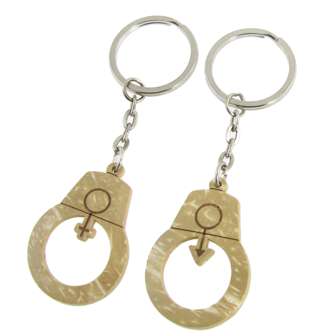Wooden Gender Symbol Carved Pendants Keychain for Lovers 2 Pcs