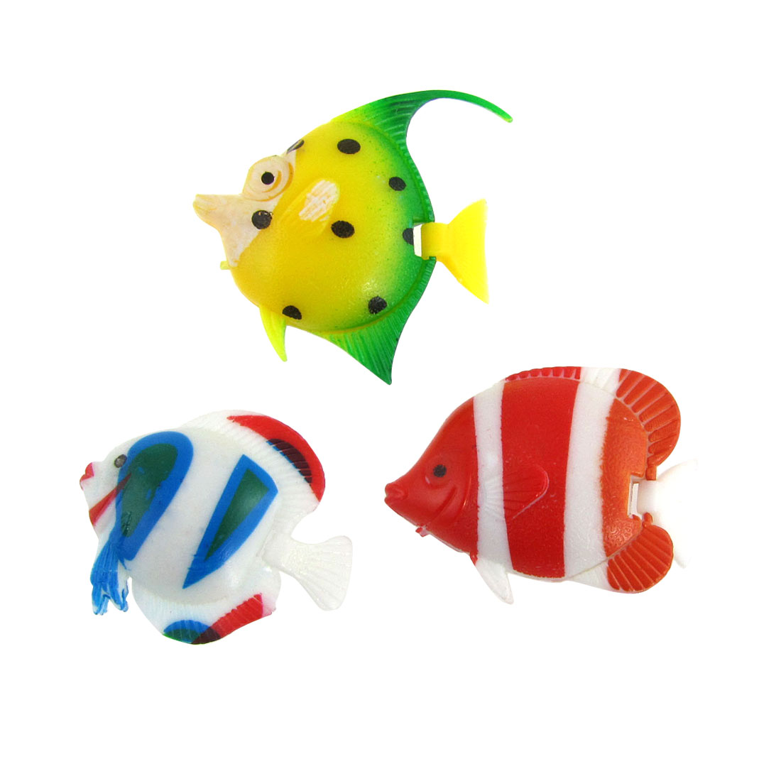 Aquarium Tank Assorted Color Plastic Wiggly Tail Fish 3 Pcs