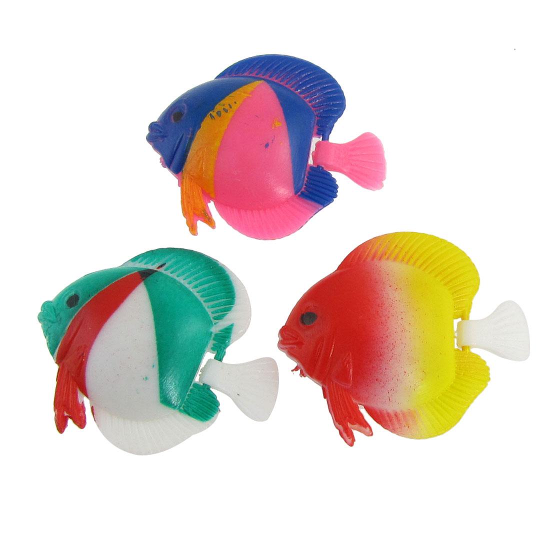 3 Pcs Aquarium Tank Decor Multicolor Wiggly Tail Plastic Artificial Swimming Fish