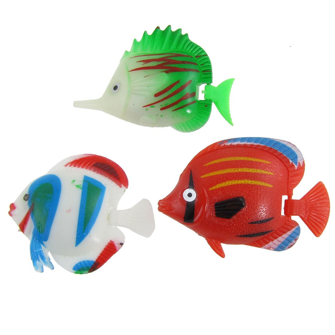 3 Pcs Colorful Plastic Tropical Fish Ornament for Aquarium