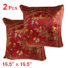 Chinese Embroidery Courtyard Scene Pattern Cushion Throw Toss Pillow Cover 2 Pcs