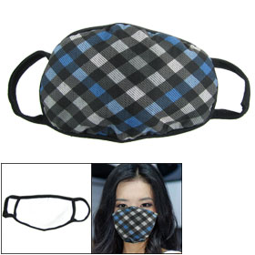 Women Elastic Earloop Blue Gray Black Checker Print Face Mask