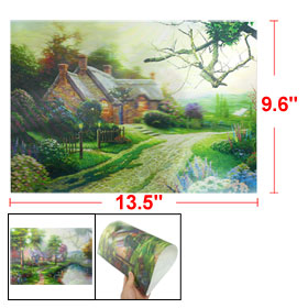 "Colorful Lake House Landscape Pattern 3D Lenticular Poster 13.5"" x 9.6"""