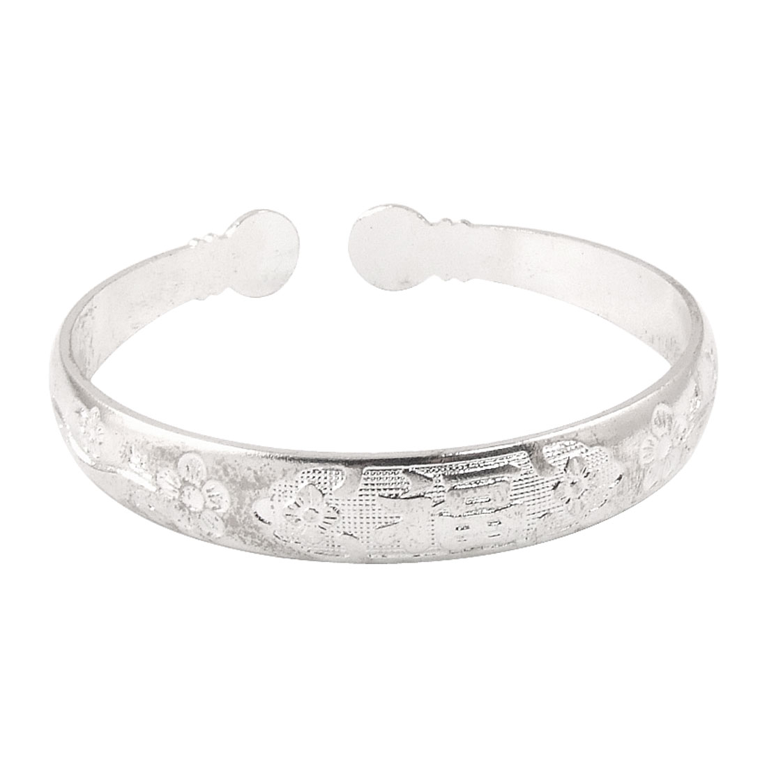 Floral Hanzi Pattern Metal Wrist Bracelet Silver Tone for Ladies