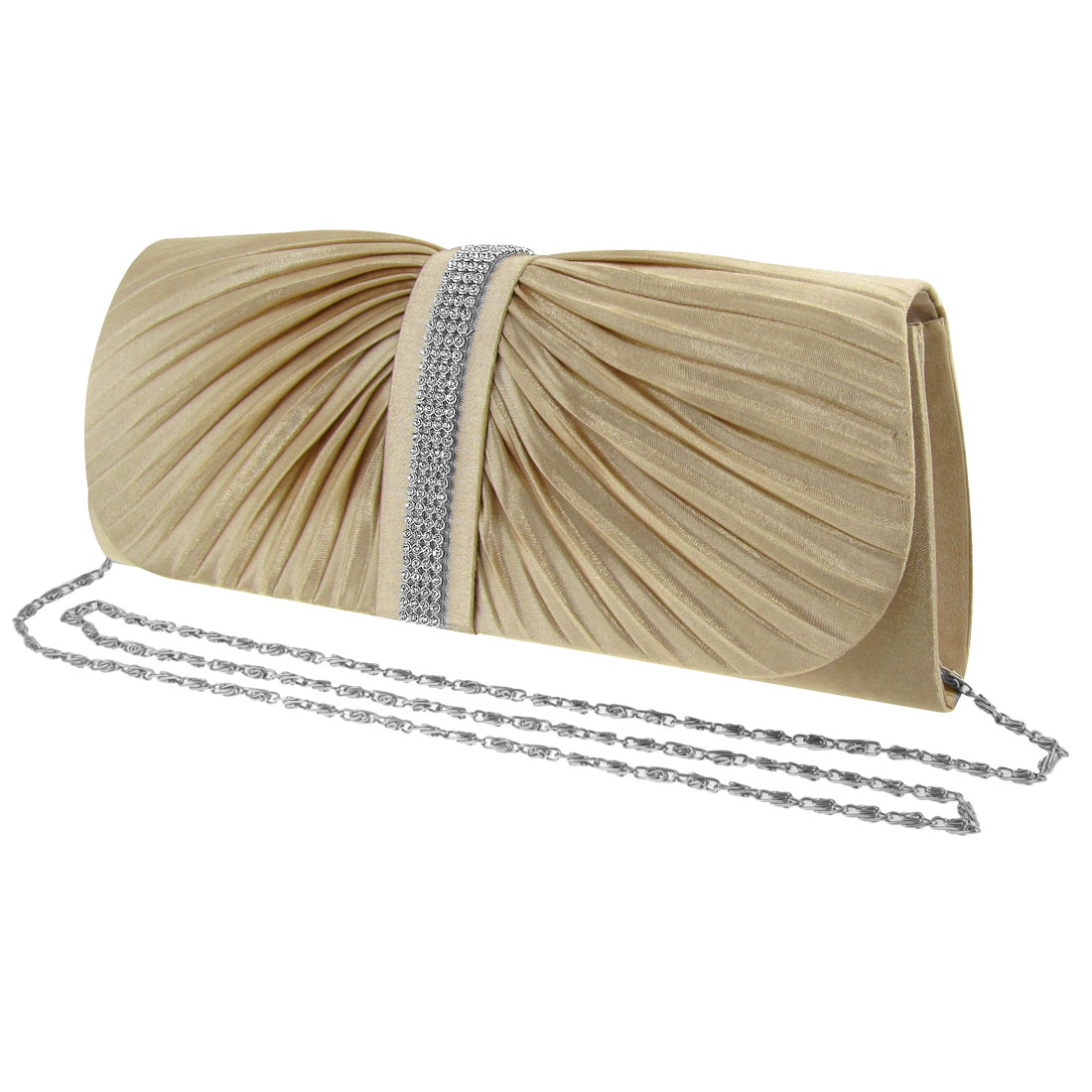 Woman Press Stud Closure Ruched Evening Chain Handbag Evening Bag Purse