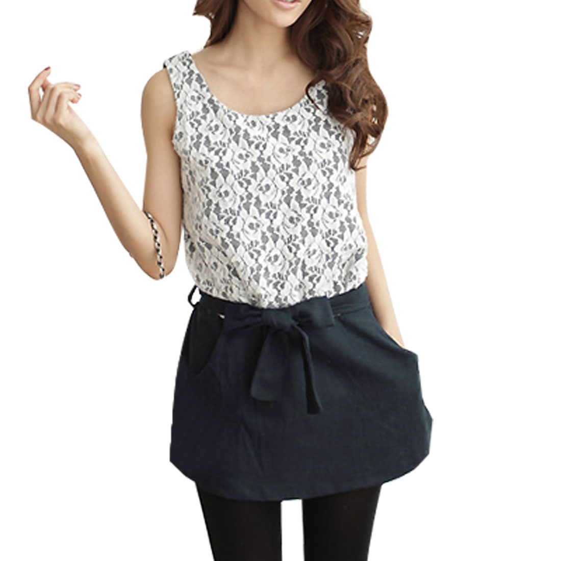 White Lace Decor Dark Blue Scoop Neck Tunic Shirt XS for Women
