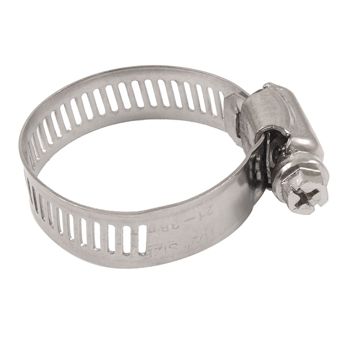 Adjustable 21-38mm Range Worm Drive Hose Clamp Silver Tone