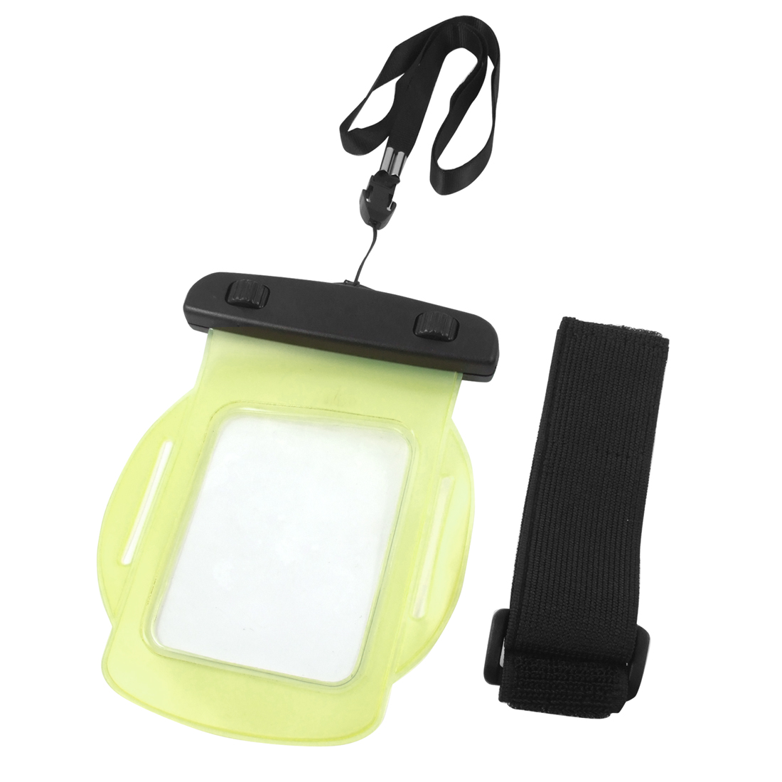 Water Resistant Plastic Yellow Pouch Bag w Neck Strap Arm Band for iPhone 3G 3GS 4 4G