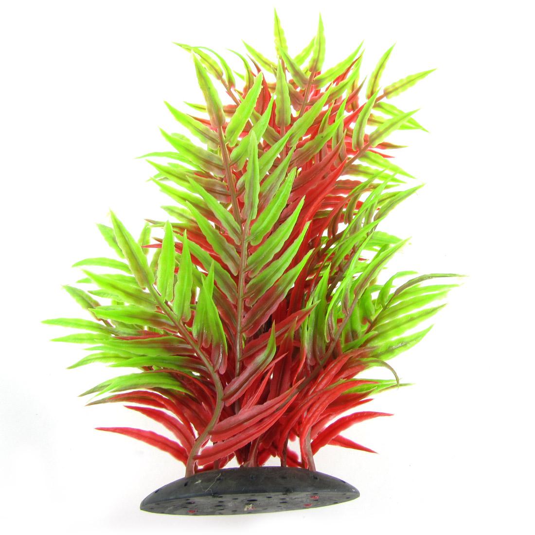 """Aquarium Red Green Leaves Plastic Plant Aquascaping Decoration 8.5"""""""