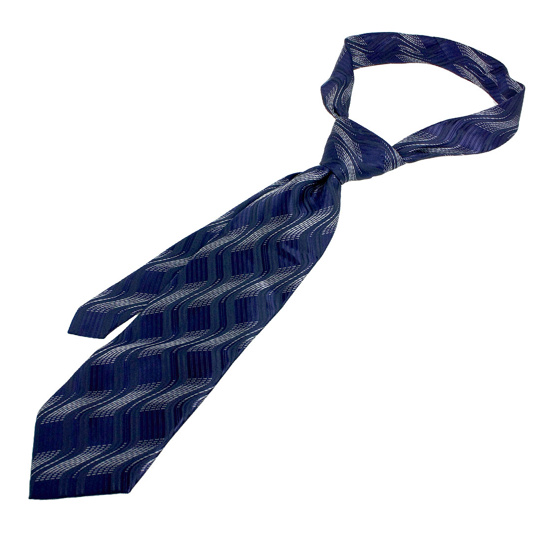 Men Silver Tone Black Striped Pattern Dark Blue Self Tie Necktie