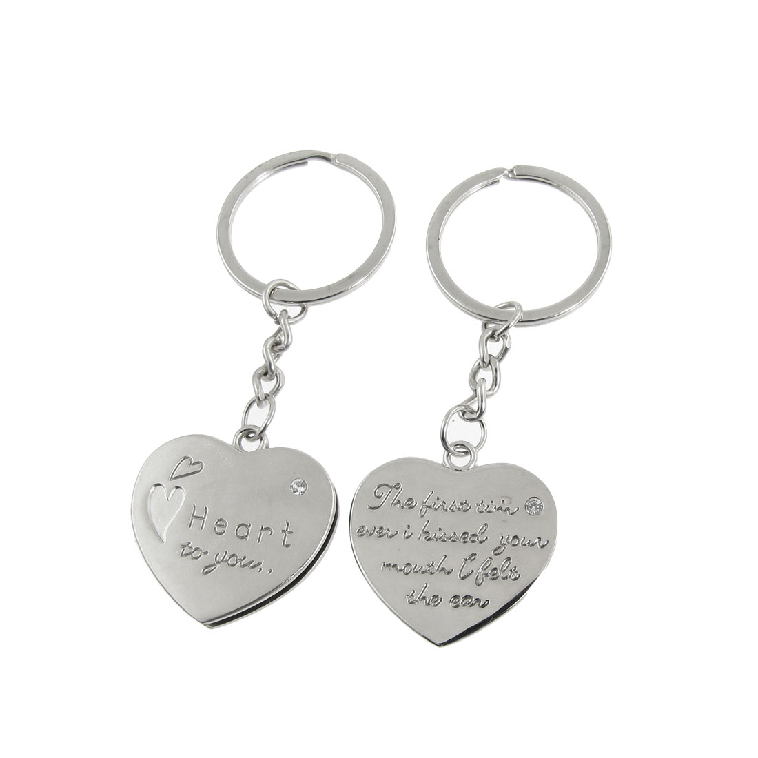 2 Pcs Faux Rhinestone Decor Heart Lover Couple Key Chain Keyring