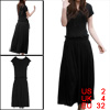 Women Scoop Neck Short Sleeve Elastic Waist Mid Calf Dress Black XS