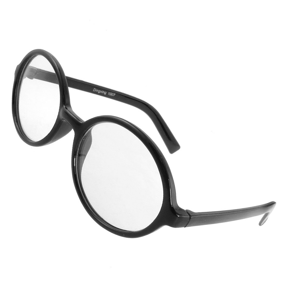 Round Oversized Clear Lens Black Plastic Full Frame Spectacles for Women