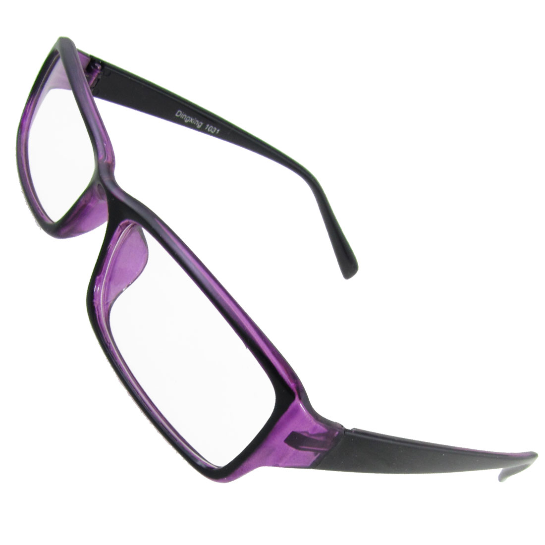 Women Purple Black Plastic Full Rim Rectangular Clear Lens Glasses
