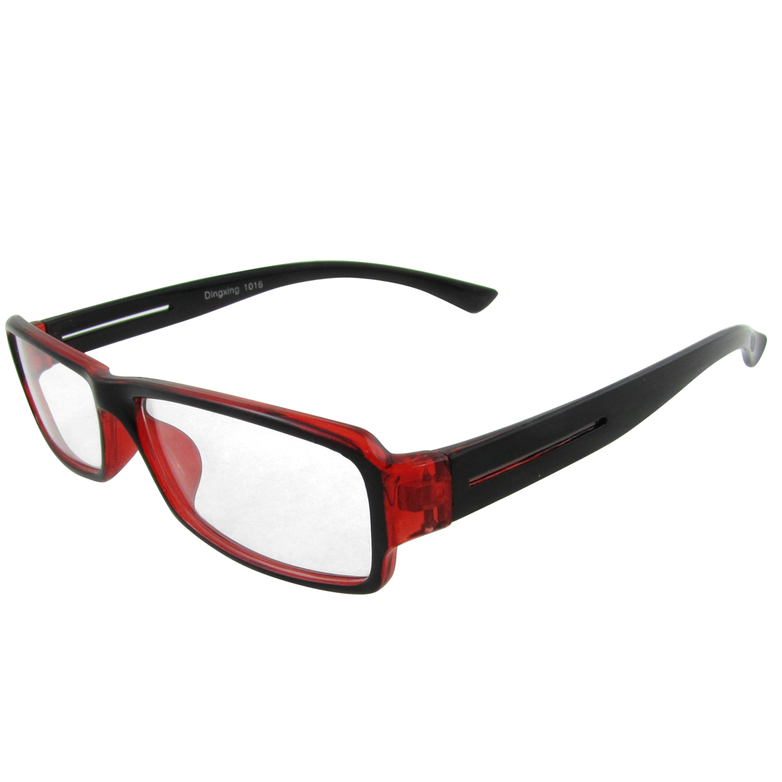 Black Red Full Frame Clear Lens Plano Eyeglasses for Women