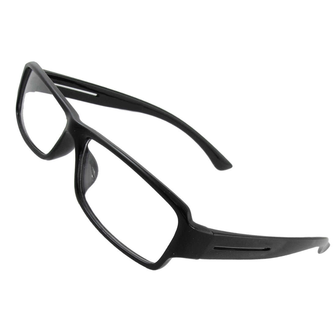 Unisex Black Polished Plastic Frame Full Rims Clear Lens Plain Glasses