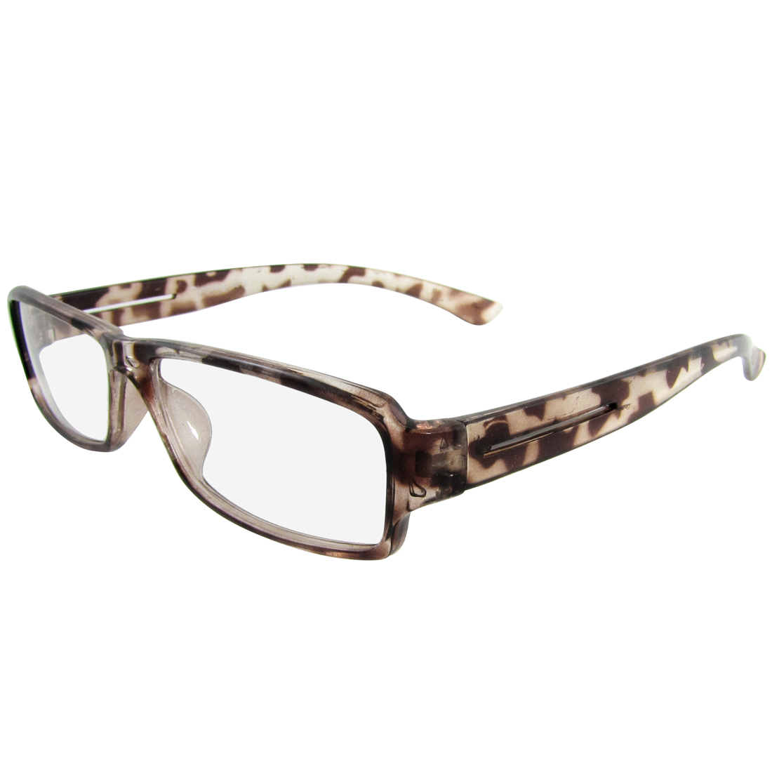 Ladies Brown Clear Leopard Print Plastic Arms Full Frame Spectacles