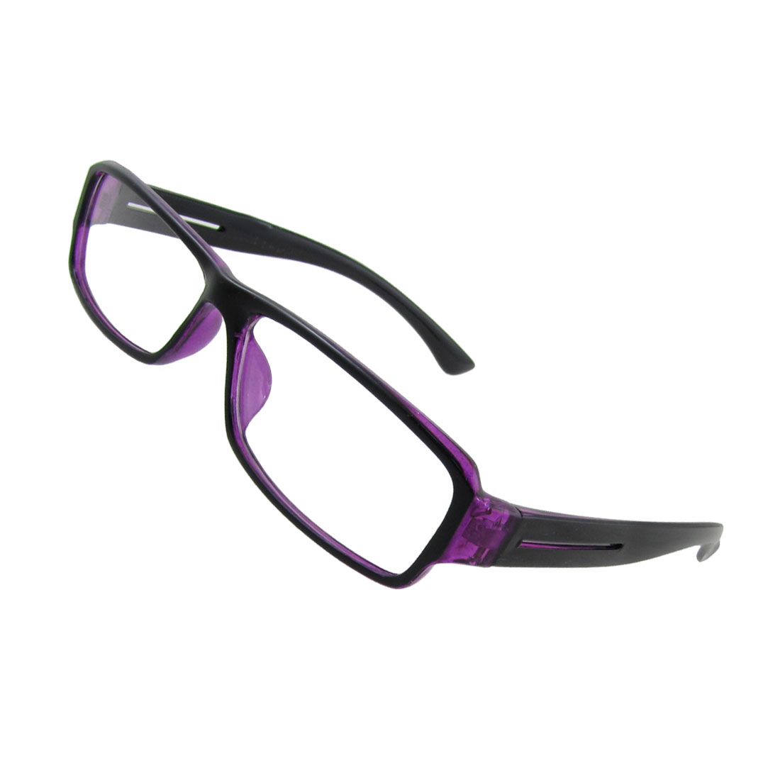 Lady Clear Lens Purple Frame Black Arm Plastic Plain Glasses