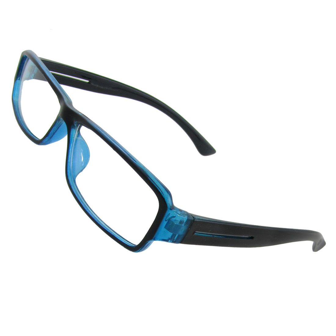 Unisex Full Rims Plastic Frame Clear Lens Plain Glasses Blue Black