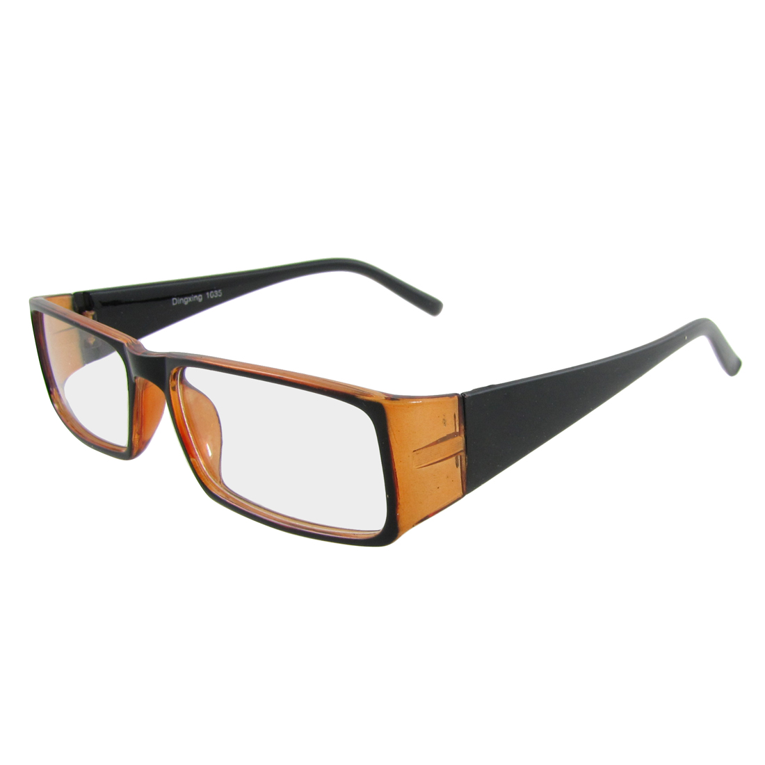Women Orange Black Plastic Full Frame Wide Temples Plain Glasses