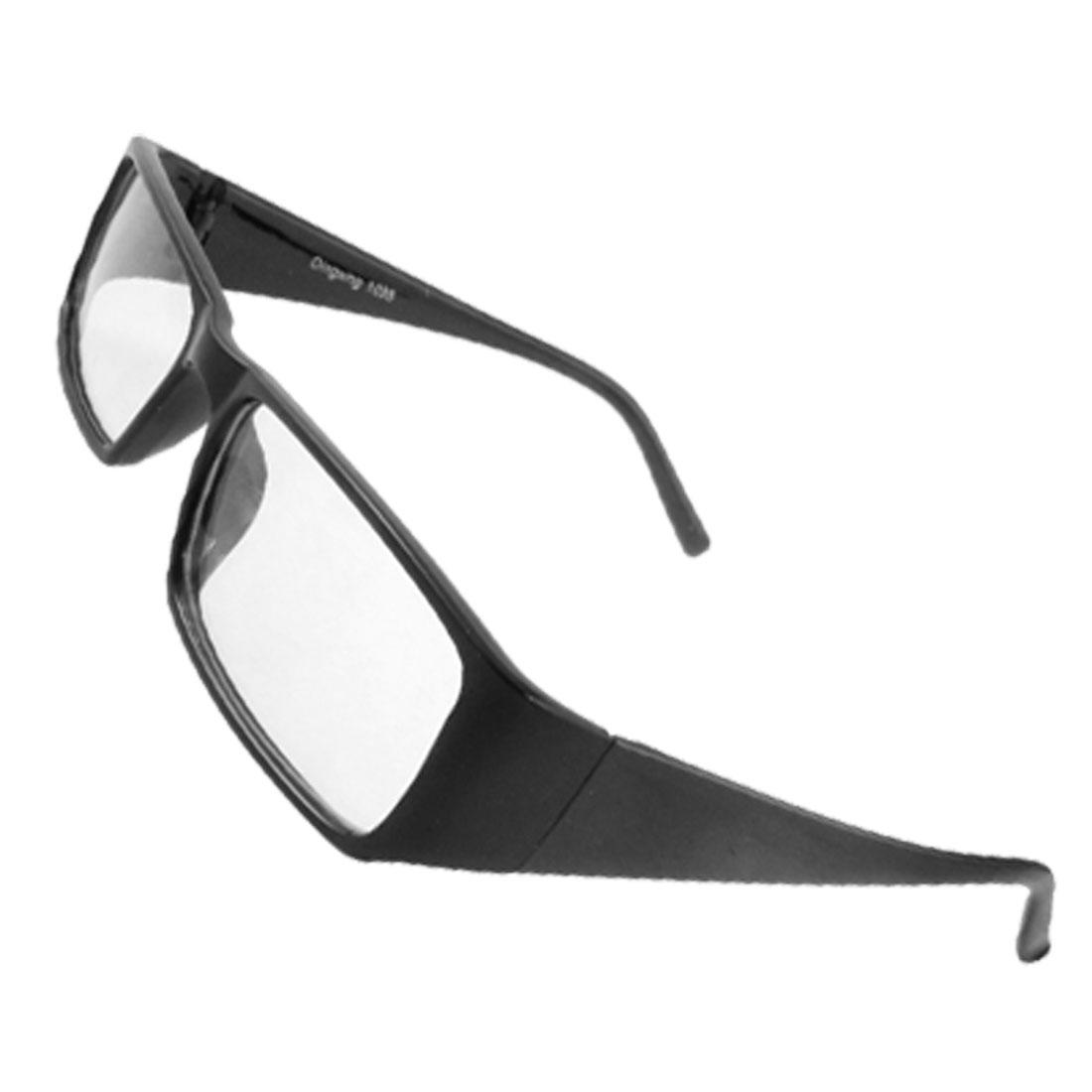 Black Plastic Arms Full Frame Clear Lens Spectacles Glasses for Women