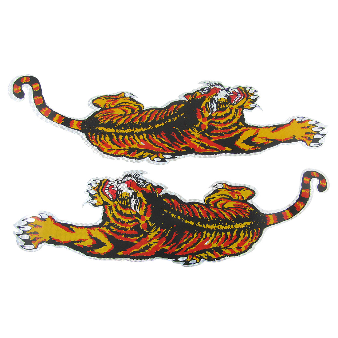 "2 Pcs Tri Color Tiger Design Car Sticker Vinyl Decal Decoration 16.7""x5.3"""