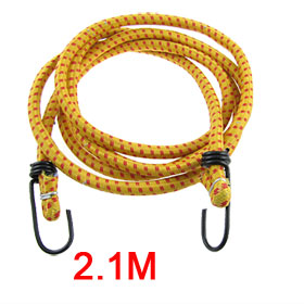 2.1M Bicycle Bike Stretchy Luggage Rope Cord Yellow w Metal Hook